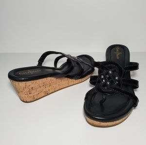Cole Haan 6.5 Shayla Cork Wedge Sandals Leather